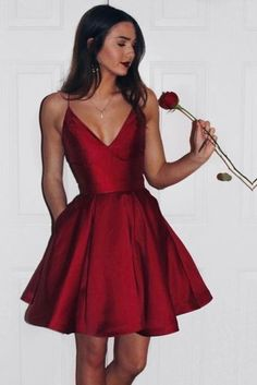 Burgundy 2017 Short Cute Simple Spaghetti Straps Homecoming Dress OK201