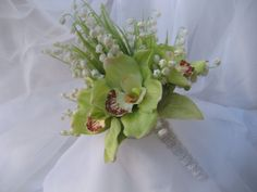 Tropical Wedding Bouquet with Cymbidium Orchids and Lily Of The Valley on Etsy, $49.95