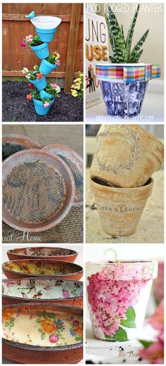A collection of six DIY Terra Cotta Pot Ideas perfect for Mother's Day gift giving or just because! Use decoupage, vintage graphics and your imagination!