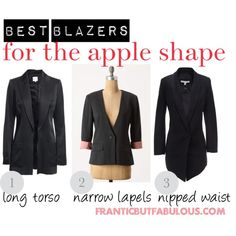 If your shoulders are wider than your hips, here's how to buy the best blazers to flatter your apple body shape. Apple Body Shape Clothes, Apple Body Shape Outfits, Dresses For Apple Shape, Apple Body Fashion, Apple Shape Fashion, Apple Body Type, Apple Body Shapes, Inverted Triangle Outfits, Dressing Your Body Type