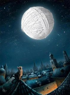 Фото Cat on the roof sits and looks at the moon, which looks like a white ball of yarn (© ), добавлено: 31.01.2013 22:04