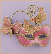 Venetian Butterfly Masks Pin Butterfly Mask  pink eyemask with gold braid edging and attached butterflies.