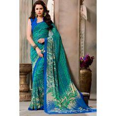 Sari, saris asiatique crêpe vert, dans la boutique. Andaaz mode apporte la dernière collection de vêtements ethniques de créateurs en FR