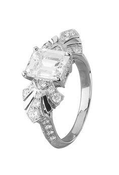 """Brides.com: . """"Eventails"""" ring featuring diamond solitaire set in platinum and diamonds, price upon request, Van Cleef"""