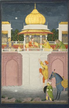 A Prince Climbing to his Betrothed, India, Provincial Mughal, second half century Gouache heightened with gold on paper painting: by leaf: by Mughal Miniature Paintings, Mughal Paintings, Indian Paintings, Dance Paintings, Oil Paintings, Indian Traditional Paintings, Traditional Art, Middle Eastern Art, India Art