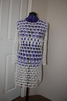 Crochet Dress in fine white 100% cotton size от LoyesThread