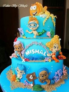 Bubble Guppies cake Jami M/Sweet Arts will be making - Minor changes though. No boy characters (all 3 girls and the dog) Pretty Cakes, Cute Cakes, Beautiful Cakes, Bubble Guppies Cake, Bubble Guppies Birthday, Ocean Cakes, Beach Cakes, Cake Pops, Cake Kit