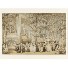 Drawing - Vauxhall Gardens.  Thomas Rowlandson  watercolour, penn and ink.