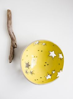 REACHING the STARS, yellow knitting yarn bowl, modern, quirky pottery bowl, handmade ceramic dish by karoArt - love the idea!
