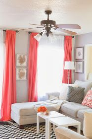 Sheets for drapes! Pop of coral. home decor and interior decorating interior house design interior design 2012 designs decorating Design Living Room, Home Living Room, Apartment Living, Home Interior, Interior Design, Interior Decorating, Decorating Ideas, Decor Ideas, Modern Interior