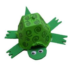 Turtle: egg carton, green construction paper, paint, googly eyes @NationalWildlifeFederation