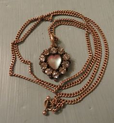 Beautiful Victorian Gold Filled Heart Shaped Saphiret & Paste Pendant Necklace #Victorian #Pendant
