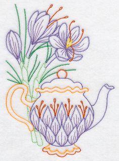 Teapot with Saffron (Vintage) design (K2356) from www.Emblibrary.com