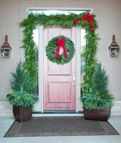 "Outdoor Cedar Garland -The deep aroma of cedar adds a warm welcome to guests. Drape over a light post, banister or entry. Use with wreaths or swags for a matched theme. Bow included.    Available in 10' (1 Bow), 25' (2 Bows) and 75' (5 Bows)    Shown in the photo is a 25' outdoor cedar garland with a 28"" mixed wreath."