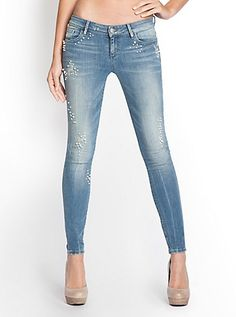 Kate Skinny Jeans with Pearl Beads | GUESS.ca