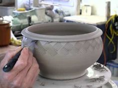 """Video: how to """"weave"""" a clay bowl. incising with a citrus peeler zester. pottery ceramics"""