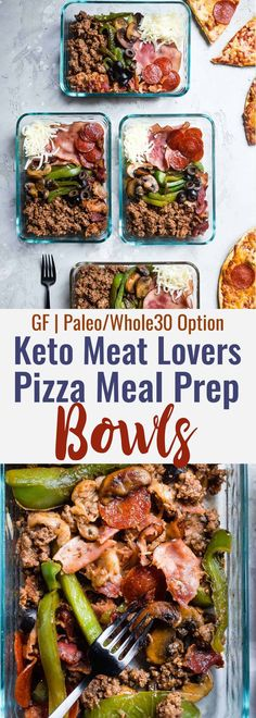 Keto Low Carb Pizza Meal Prep Bowls - These easy meal prep bowls are perfect for both kids and adults to pack for lunches! Gluten free, healthy and paleo and whole30 compliant too! Dairy free option included. | #Foodfaithfitness | #Glutenfree #keto #lowcarb #whole30 #mealprep