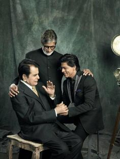Shahrukh Khan with Bollywood legends Dilip Kumar and Amitabh Bachchan at Filmfare photoshoot celebrating 100 years of Indian cinema Bollywood Stars, Bollywood Photos, Indian Celebrities, Bollywood Celebrities, Bollywood Actress, Shahrukh Khan, Glamour World, Cinema, Sr K