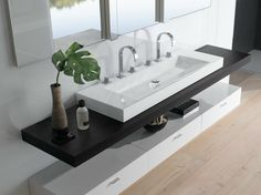 Countertop double rectangular washbasin BETTEAQUA Double washbasins Collection by Bette Bathroom Redesign, Bathroom Interior, Bathrooms Remodel, Countertops, Bathroom Decor, Home, Bathroom Design, Wash Basin, Small Bathroom Remodel