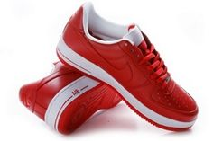 Nike Air Force Ones Mens Leather Sneakers Red White Model #B070067