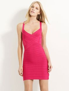 Herve Leger Bright Red Dress - Halter Bandage Rose $123.35