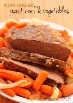 Slow Cooker Roast Beef and Vegetables from SixSistersStuff.com.  A delicious dinner and a side dish in one!