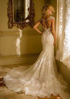 Hochzeitskleid Meerjungfrau, mit langer Schleppe, Spitzenkleid, ärmellos