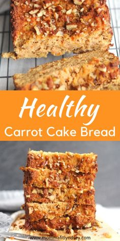 Recipes Snacks Savoury Carrot Cake Healthy Recipe - Healthy carrot cake breakfast bread for a healthy easter brunch Carrot Cake Bread, Gluten Free Carrot Cake, Healthy Carrot Cakes, Carrot Recipes, Cake Recipes, Dessert Recipes, Easter Cake Healthy, Carrot Bread Recipe Healthy, Banana Bread