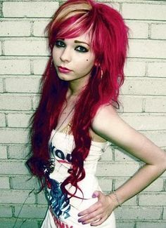 Awesome red and blond scene hair