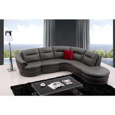 Divani Casa Bedrock Modern Dark Grey Eco-Leather Sectional Sofa