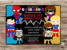SUPERHERO Birthday Invitation, Boys and Girls Invite, Batman Batgirl, Superman Supergirl, Spiderman Spidergirl, Digital Printable: JPG File