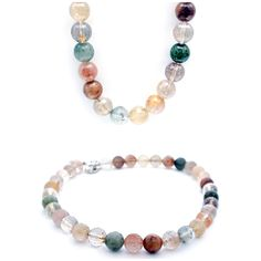 Made in the workshop, agate and quartz silver t-bar necklace.