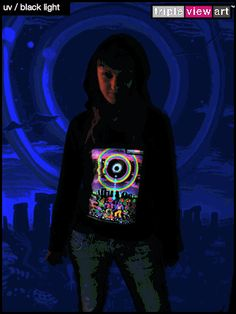 """""""Eclipse Over Stonehenge"""" UV-Blacklight Fluorescent & Glow-In-The-Dark Phosphorescent Psychedelic Art Womens Hoodie, £28 in Tripleview Art Web Shop.  #psychedelic #psy #trance #psytrance #goatrance #rave #trippy #hippie #esoteric #mystic #spiritual #visionary #symbolism #UV #blacklight #fluorescent #fluoro #fluo #neon #glow #glowinthedark #phosphorescent #luminescent #art #hoodie #stonehenge #eclipse #rainbow #elves #goblins #party"""