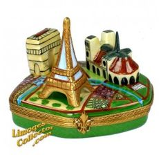 Paris Landmarks Collection with Metro Map Limoges Box (Beauchamp).