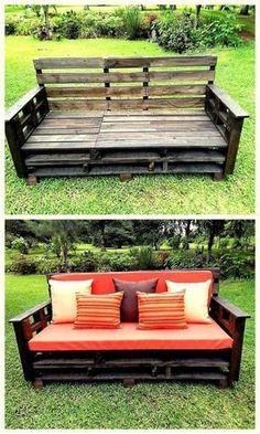 Crate and Pallet DIY Pallet furniture Wood pallets have been widely used for various purposes like storing larger items and shipping. In fact, they can be turned into wood pallet furniture that c… Pallet Patio Furniture, Pallet Sofa, Furniture Projects, Diy Furniture, Rustic Furniture, Modern Furniture, Pallet Chairs, Furniture Online, Lawn Chairs