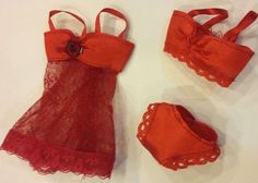 Red 3 pc Lingerie gown w/ bra panties Lot Set for Barbie Clothes Accessories #Eting