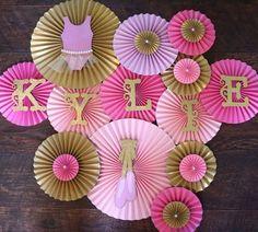 Ballerina Themed Party Backdrop, Ballerina Birthday Party, Ballerina Birthday Ideas, Ballerina Backdrop, Ballerina Photo Booth, Tiny Dancer Theme, Tiny Dance Room, PInk and Gold Party, Pink and Gold Party Decor, Ballet Birthday Theme, Ballet Baby Shower, Paper Fans