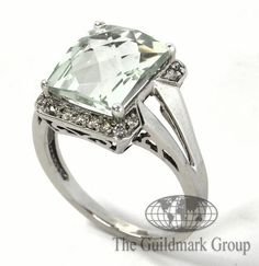 New 10K White Gold Green Amethyst and 0.20 cttw Diamond Ring 6.75US Retail: $2,000 - 0.20 cttw - 4.0 Grams - Free Shipping