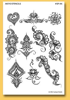 A stunning collection of original henna tattoo stencils and beautiful body art designs by professional mehndi artists. Arte Mehndi, Mehndi Art, Henna Mehndi, Mehendi, Hand Henna, Henna Designs Easy, Henna Tattoo Designs, Mehndi Designs, Henna Designs Paper