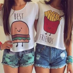 🍟Best Friends Crop Tops Lot of 2 size L🍔 Lot of 2 crop top BFF shirts. Bff Shirts, Best Friend T Shirts, Best Friend Outfits, Best Friend Things, Best Friend Clothes, Friends Shirts, Teen Shirts, Best Friend Matching Shirts, Couple Tshirts