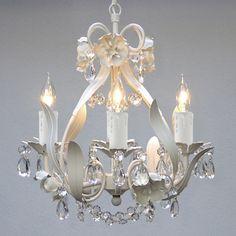 Mini 4-light White Floral Crystal Chandelier 88.00
