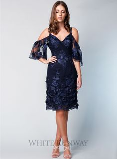A beautiful midi dress by Grace & Hart. An off shoulder v-neckline style featuring delicate floral embroidered mesh and fitted skirt. Navy Bridesmaids, Navy Blue Bridesmaid Dresses, White Runway, Off Shoulder Fashion, Fitted Skirt, Princess Wedding, Blue Wedding, Fashion Dresses, Cold Shoulder Dress