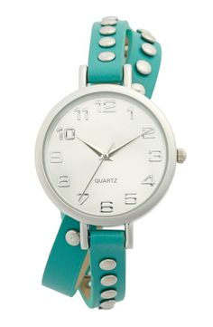 Love teal! Crushing on this gorgeous studded double wrap watch.