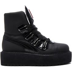 Fenty by Puma Leather Sneaker Boots ($330) ❤ liked on Polyvore featuring shoes, boots, ankle boots, puma boots, platform shoes, short leather boots and side zip boots