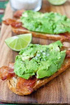 avocado-bacon toasts