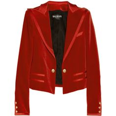 Balmain Red Velvet Strong Shoulder Blazer ($900) ❤ liked on Polyvore featuring outerwear, jackets, blazers, balmain, red, velvet blazer, red jacket, balmain jacket and red velvet jacket