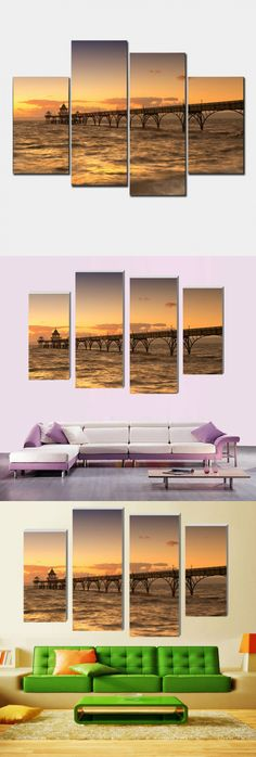 Beach promenade 4 P posters on the wall Modern Home Decoration Living Room or Bedroom Canvas Print Painting Wall picture nn190 $21