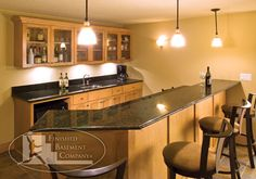 When setting up a basement bar there are some must have items you must have around or your basement bar won't really be a bar but just a basement pretending to be. Wet Bar Basement, Basement Bar Plans, Basement Bar Designs, Basement Kitchen, Basement Remodeling, Basement Ideas, Basement Apartment, Remodeling Ideas, Finished Basement Company