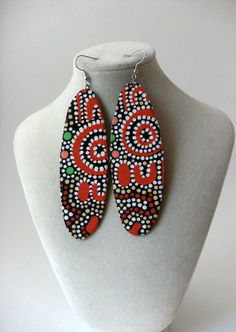 Long oval aboriginal print fabric earrings - second print option. $14.99, via Etsy.
