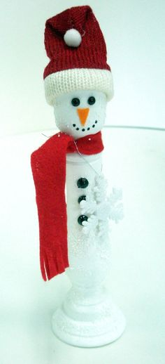 wooden candle stick snowman